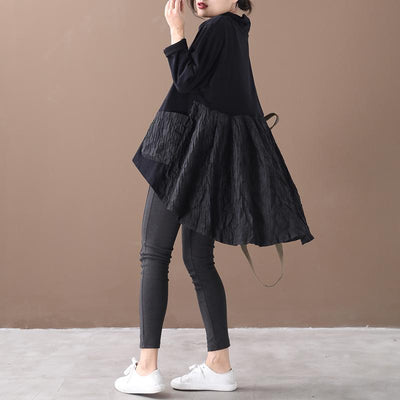 Buykud Casual Pleated Patchwork Irregular Hem Loose Dress