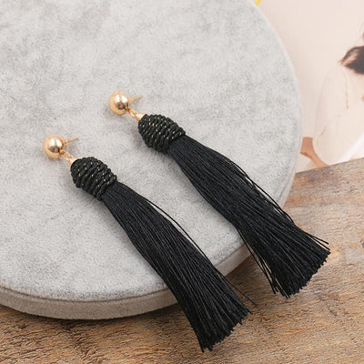 Fashion long tassel hand-woven earrings