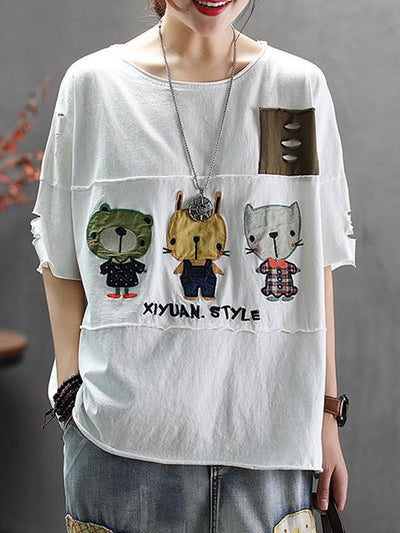 Loose Cotton Cartoon T-shirt