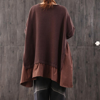 Buykud Casual Loose Fake Two-piece Pullover Blouse