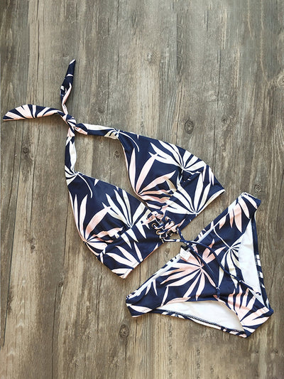 All Want Floral Soild Bikini Set