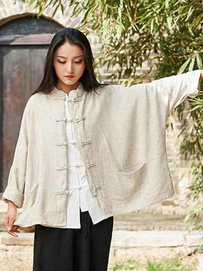 National Button Retro Linen Cover-up