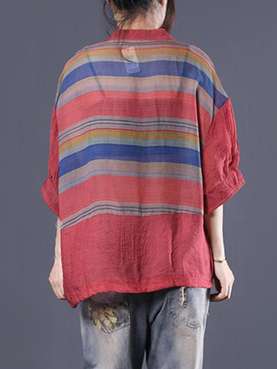 Office Loose V-neck Striped Blouse