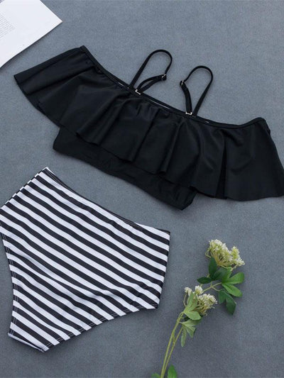 Off-the-shoulder Plain Top Bikini Swimsuit
