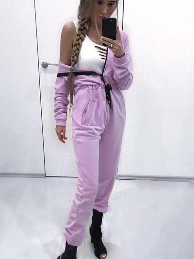 Casual Loose Solid Sports Jumpsuits Bottom