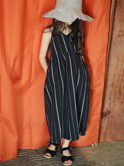 Casual Girl Kid Dress with Stripes in Black Color