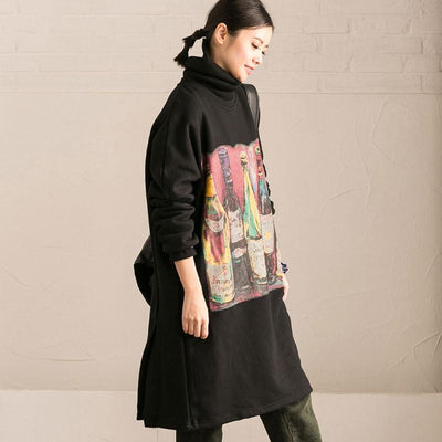 Women Cotton Casual Loose Long Sleeve Printed Black Dress