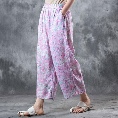 Summer Women Casual Floral Long Light Purple Pants