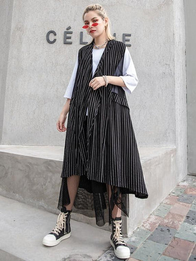Casual Striped Cotton Waistcoat