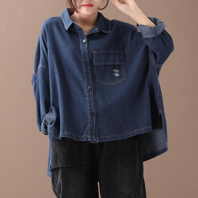Buykud Frayed Casual Pure Color Loose Coat