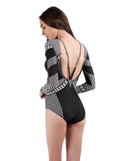 Sexy Dull Long Sleeves Hollow One Piece Swimwear