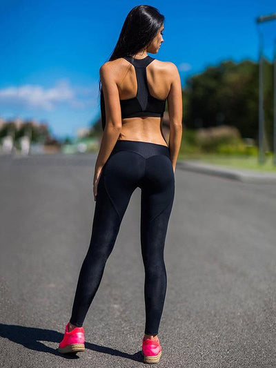 Split-joint Solid Elastic Yoga Leggings