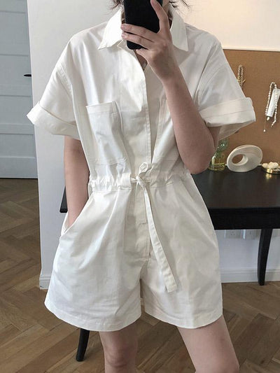 Vintage Simple Tooling Solid Wide Leg Shortts Rompers