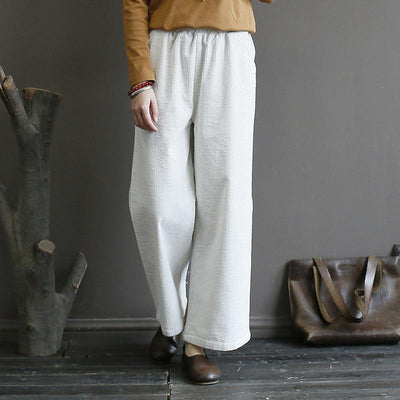 Buykud Casual Pure Color Corduroy Straight Pants