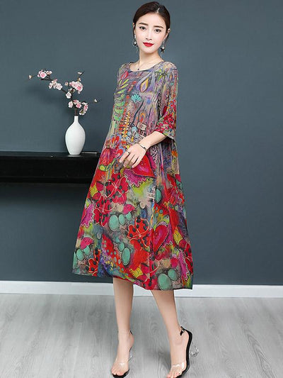 Casual National Style Mulberry Silk Long Dress