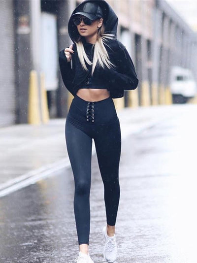 Solid Empire Bandage Leggings Yoga Pants Bottoms