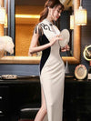 Chinese Velvet Long Traditional Evening Dress With Knotting