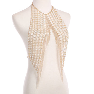 Sexy exaggerated pearl tassel chest chain