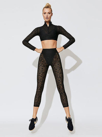 Leopard Print Lace Long Sleeves Yoga&Gym Suits