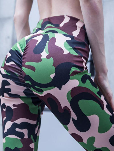 Empire Printed Elastic Wrap Yoga Leggings