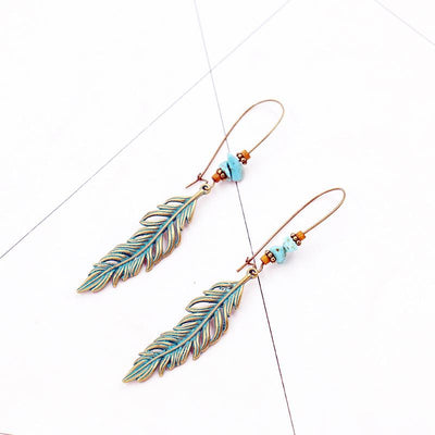 Alloy big retro leaf earrings