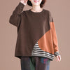 Buykud Multi-color Stitching Casual Pullover Autumn Sweater
