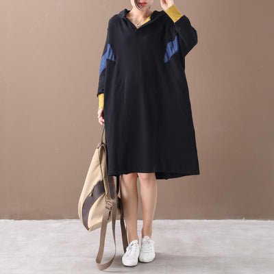 Buykud Color Matching Comfortable Loose Hooded Dress