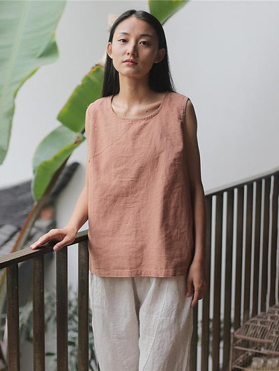 Casual Linen Sleeveless T-shirt