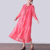 Graceful Applique Lining Long Sleeves Women Red Dress