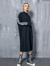 Loose Split-joint Striped Lapel Shirt Dress