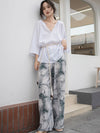 Casual Splash-ink Printed Wide Leg Pants