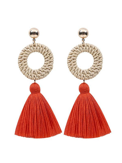Raffia National Knitting Earrings