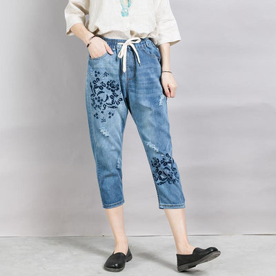 Casual Loose Frayed Women's Cropped Jeans