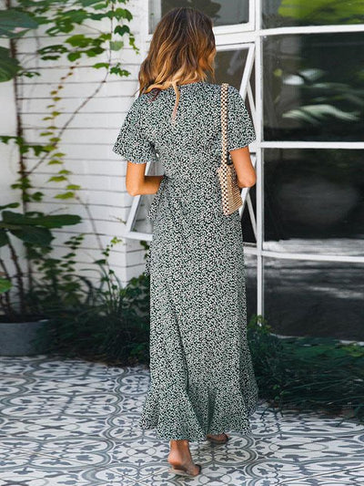 Printed Short Sleeves Split-front V-neck Maxi Dresses