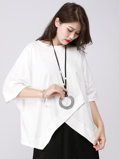 Casual Cropped Split-front T-shirt