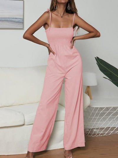 Solid Color Spaghetti-neck Jumpsuits