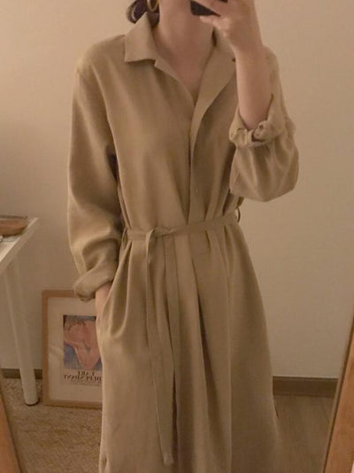 SIMPLE LAPEL SPLIT-SIDE LONG SLEEVES LONG DRESS