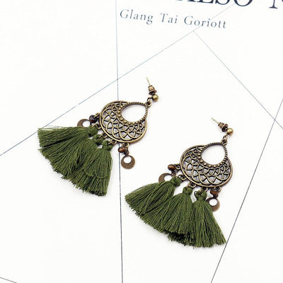 retro hollow alloy flower long fashion Tassel earrings