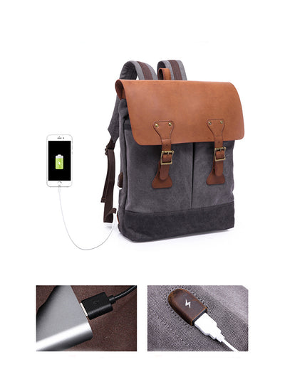 multi-purpose canvas computer bag travel backpack usb interface Retro backpack