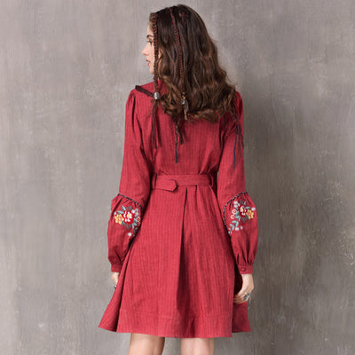 Stand Collar Lantern Sleeve Spring Cotton Linen Floral Pleated Dress