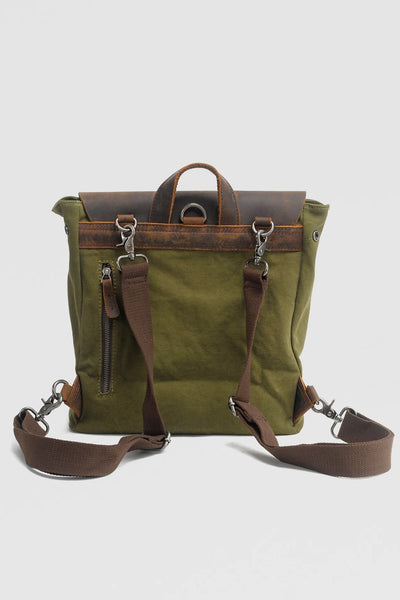 Retro Backpack Leather Portable canvas bag