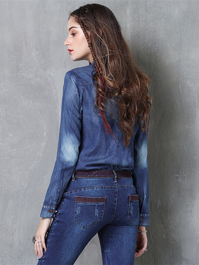 Long Sleeve Stand Collar High Quality Embroidery Denim Blouse Shirt Women Tops