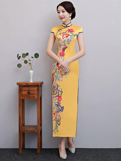 Yellow Floral Split-side Long Cheongsam