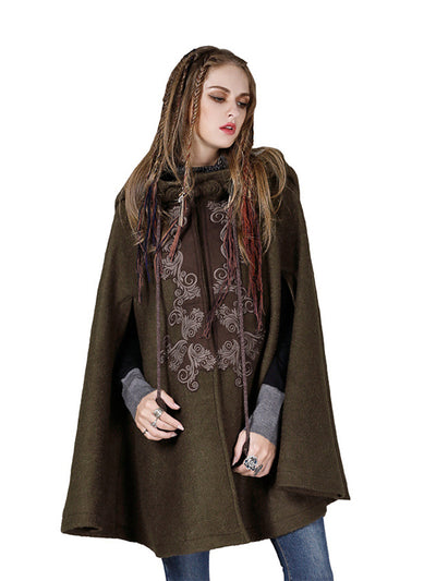 Winter Vintage Wool Blends Mandarin Collar Sleeveless Embroidery Cloak