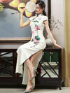 White Lotus Print Long Cheongsam