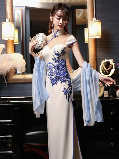 Chinese Cheongsam Long White Dress With Blue Flower Print