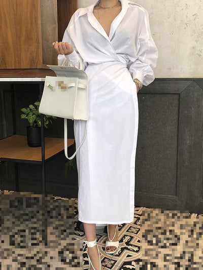 Asymmetric Solid Office Blouse Dress