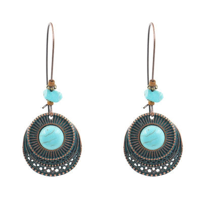 Fashion round alloy female creative hook turquoise earrings