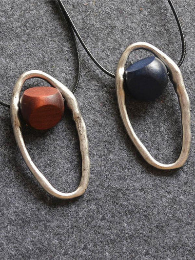 Laced Wooden Silver Combo Necklaces in Ancient Style