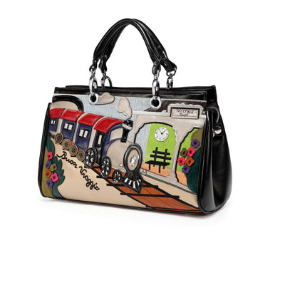 Train cartoon retro hand shoulder diagonal cross bag